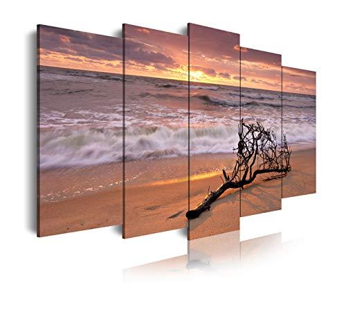 DekoArte 144 - Cuadros Modernos Impresion de Imagen Artistica Digitalizada   Lienzo Decorativo para Tu Salon o Dormitorio   Estilo Paisaje Relajacion Mar Playa Naturaleza Amanecer   5 Piezas 150x80cm