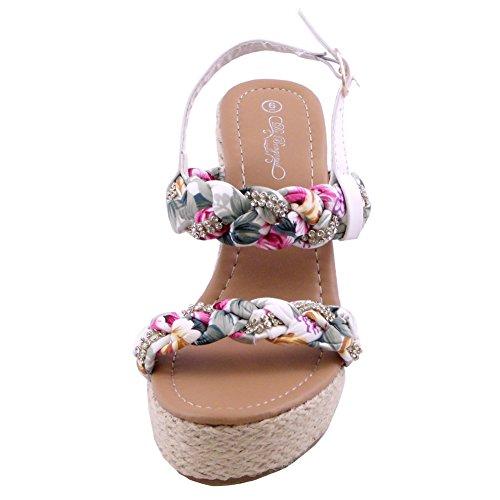 Adalia Blomma Plattform Wedge Sandal Vit