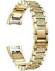 Cavis Braccialetto di Strass con Cinturini nel Metallo Compatibile per Charge 2 Oro