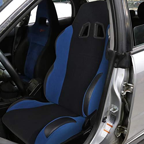 [Driver] Black/Light Blue Fabric Cloth Reclinable Sports Racing Seat w/Slider