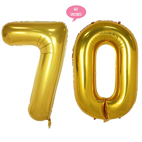 Bechampion 40 Inch Gold 70 Jumbo Digital Number Balloons Huge Giant Balloons Foil Mylar Number Balloons for 70th Birthday Party Decorations and 70th Anniversary Event