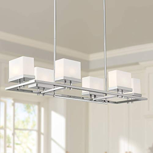 Nickel Chandelier Rectangular (Possini Euro Gareth 38 1/2