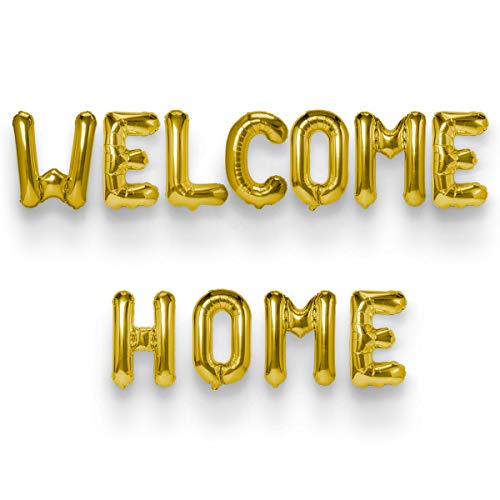 NICROLANDEE Welcome Home Balloons 14 Inch Gold Foil Letters Banner Balloons Mylar Balloons for Family Party Decorations Supplies (Gold) -