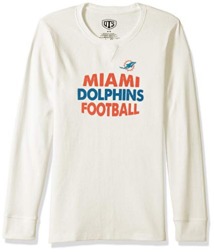 OTS NFL Miami Dolphins Women's Long Sleeve Waffle Tee, Distressed Nibley, Large