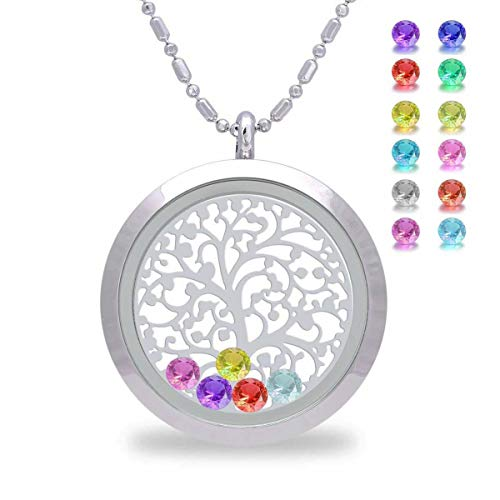 Family Tree of Life Floating Charms Living Memory Lockets, Mother Birthstone Magnetic Closure Stainless Steel Necklace, Jewelry Birthday Gifts for Mom, mother-in-law (Smooth)