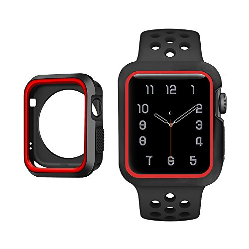 Case for Apple Watch, TOBSKBY Rugged Shock Proof Armor, Protective Cover in Silicon, for iWatch Series 3/2 / 1 Edition (Black + Red, 38mm)