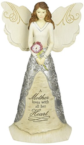 Elements Mother Angel Figurine by Pavilion, 8-Inch, Reads a Mother Loves with All Her Heart