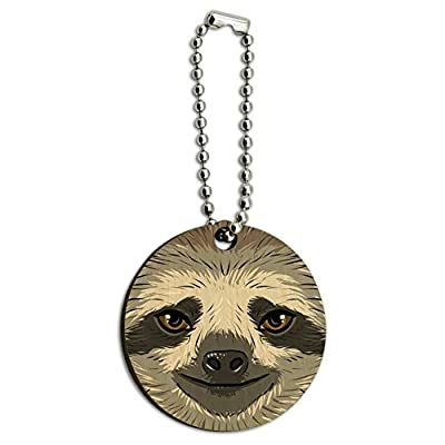 Graphics And More Sloth Face Wood Wooden Round Key Chain - 13, Hundredths-Pounds