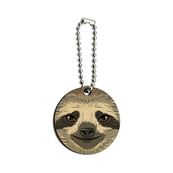 Graphics And More Sloth Face Wood Wooden Round Key Chain -