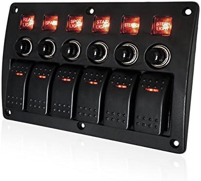 ForHe Waterproof 4 Gang Rocker Switch Panel 12V//24V Circuit Breaker LED Rocker Indicator for Auto RV Car Marine Boat
