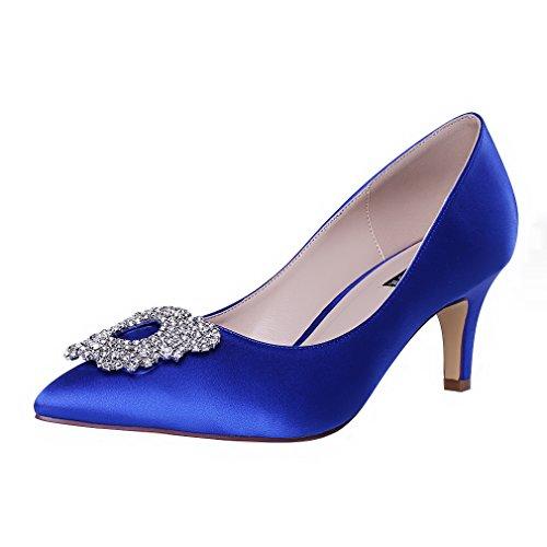 ERIJUNOR Damen Pumps Low Heel Strass Brosche Satin Abendkleid Hochzeitsschuhe Blau
