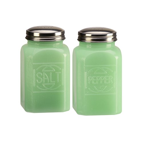 Emille Collection Jade Green Milk Glass Salt and Pepper 2 Piece Set, Relief Textured Lettering, 8 Ounces (Green Glass Salt)