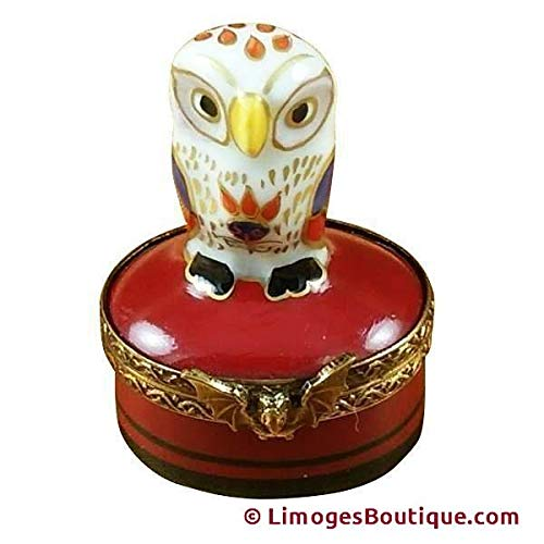 LITTLE INDIAN OWL ON SMALL RED BOX BIRD - LIMOGES BOX AUTHENTIC PORCELAIN FIGURINE FROM FRANCE ()