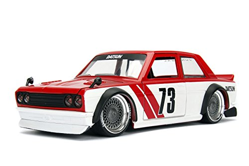 NEW 1:24 JADA TOYS DISPLAY JDM TUNERS COLLECTION - Red 1973 Datsun 510 Widebody #73 Diecast Model Car By Jada Toys (WITHOUT RETAIL - Model 510 Datsun