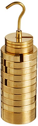 United Scientific WHST13 Brass Slotted Weight Set with Hanger and Case, 13 -