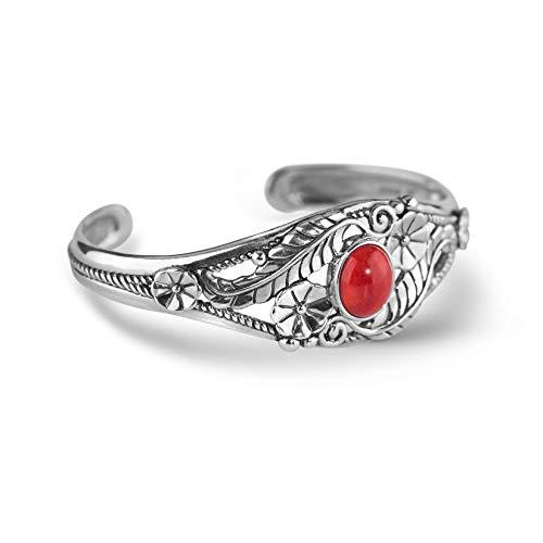 (American West Sterling Silver Red Coral Gemstone Floral Leaf Cuff Bracelet Size Medium)