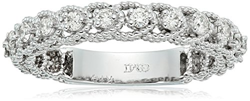 14k Twisted White Gold Diamond Stackable Ring (1/3cttw, I-J Color, I1 Clarity), Size 7
