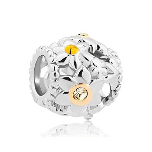 LovelyJewelry Open Daisy Flower Charm Clear White Crystal Golden Pistil Flower Beads s Bracelet