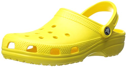 Crocs Men's and Women's Classic Clog, Comfort Slip On Casual Water Shoe, Lightweight, Lemon, 8 US Women / 6 US Men]()