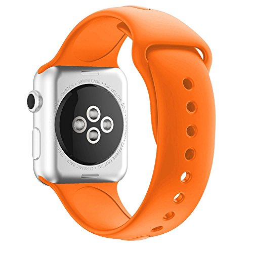 Chumei Sporty Band Compatible with Apple Watch, Soft Silicone Replacement Wristband Strap Band for iWatch Series 1 Series 2 Series 3 Series 4 (42MM/44MM M/L Spicy Orange)
