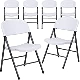 Flash Furniture 6 Pk. HERCULES Series 330 lb. Capacity Granite White Plastic Folding Chair with Charcoal Frame