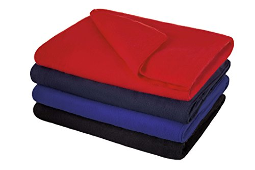 Multi-Purpose Fleece Throw Blanket Navy Blue with Built in B
