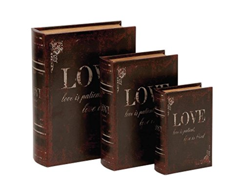 Deco 79 Wood Love is Patient Love is Kind Leather Book Box, 13 by 11 by 8-Inch, Mahogany Brown, Set of 3 Review
