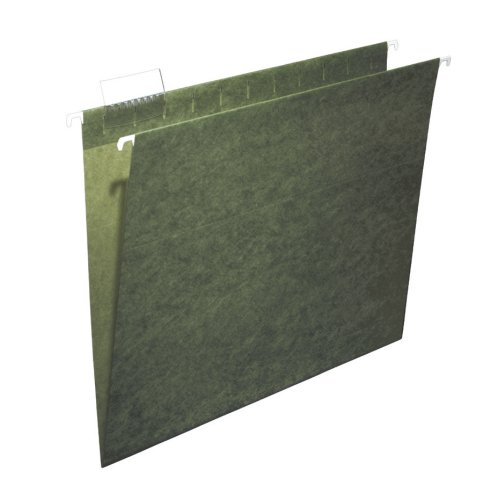 Ampad 5211/5R Hanging File Folders, 100% Recycled, Letter, 1/5 Cut, Standard Green, 25/Box