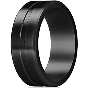 ThunderFit Men's Silicone Rings Rubber Wedding Bands - Single (Black, 7.5-8 (18.2mm))