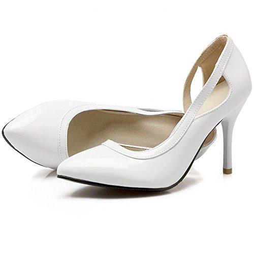 LongFengMa Ladies High Heel Shoes Sexy Women Quality Fretwork Pumps Wedding Fashion Shoes White gUej4pYIHO