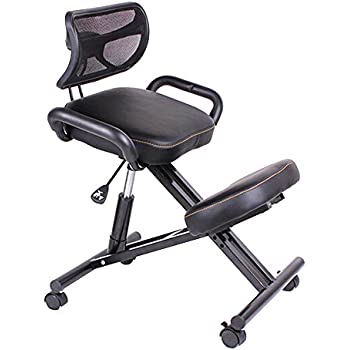 HUKOER Ergonomically Designed Knee Chair with Back and Handle Office Kneeling Chair Ergonomic Posture Leather Black  sc 1 st  Amazon.com & Amazon.com: HUKOER Ergonomically Designed Knee Chair with Back and ...