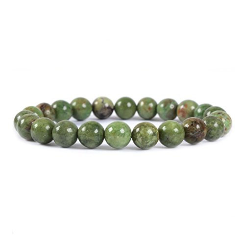 Olive Round Beads - Natural Green Opal Gemstone 8mm Round Beads Stretch Bracelet 7