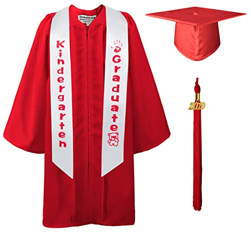GraduationMall Matte Kindergarten Graduation Gown Cap Sash Package with 2019 Tassel Red 27(3'6