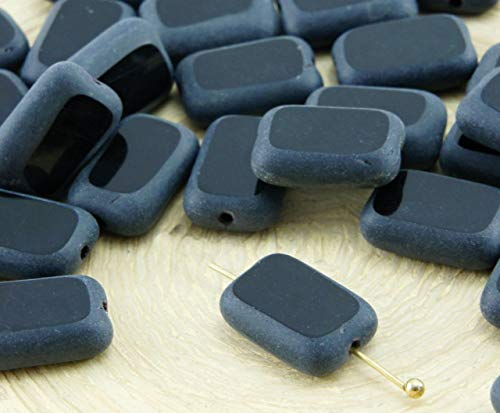 (8pcs Matte Opaque Jet Black Table Cut Flat Rectangle Czech Glass Beads 8mm x)