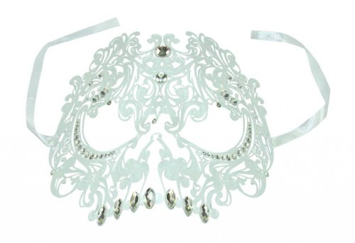 Venetian & Crystal Mask White Gold (Kayso International Inc Men's Snow Metal Masquerade Collection Venetian LaserCut Filigree Skull Face Mask W Crystal Rhinestones One Size Fit All)