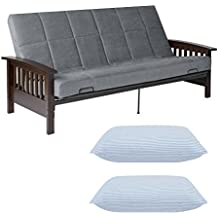 Better Homes and Gardens Gray Mission Wood Arm Futon w/2 Sets of Pillow