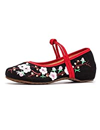 ZYZF Women Chinese Embroidered Oxfords Rubber Sole Mary Jane Dance Flat Shoes