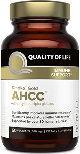 Premium Kinoko Gold AHCC Supplement 500mg of AHCC per Capsule Supports Immune Health, Liver Function, Maintains Natural Killer Cell Activity Enhances Cytokine Production 60 Veggie Capsules