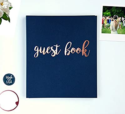Photo Guest Book Wedding Guest Book, Modern Navy Cardstock Softcover, Flat-Lay Spiral 100 Navy pgs. Embossed Rose Gold Foil. Birthday Guest Book Instax Photo Guest Book. Navy and Blush Decor (Navy)