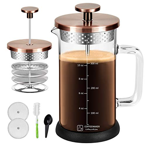 French Press Coffee Maker 12Oz Built In Thicker Borosilicate Glass with 304 Grade Stainless Steel 4 Level Filter Screens, Easy Clean & Using Coffee Press For Home, Kitchen, Office-Bronze