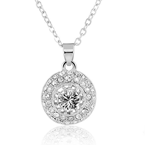 [AORAWA 14K White Gold Rhinestone Round Pendant Necklace, Adjustable 18 inch long Silver Necklace] (Best Hollywood Costumes Designers)
