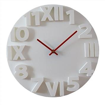 Horloge murale relief blanche cm with horloge blanche design for Pendule blanche design