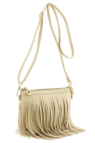 Small Fringe Crossbody Bag with Wrist Strap (Beige)