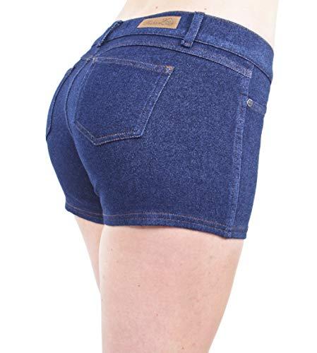 Basic Booty Shorts Premium Stretch Indigo Denim Gentle Butt Lift Stitching in Stone Size XL