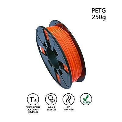 LEE FUNG 1.75mm PETG 3D Printing Filament, Dimensional Accuracy +/- 0.05mm, 0.55 LBS (0.25KG) Spool,1.75 mm 3D Filament for Most 3D Printer & 3D Printing Pen (Transparent Orange)