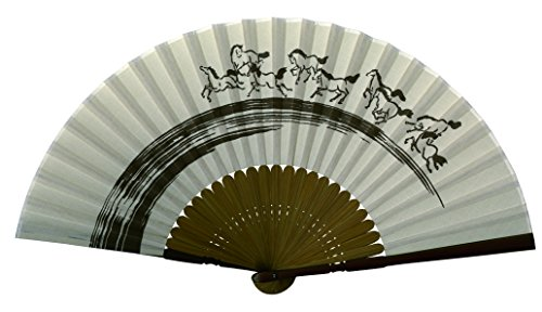 Japanese Crafted Hand Fans; Good Fortune (Horse)