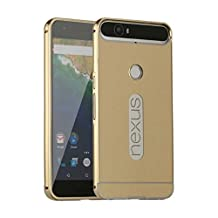MYLB Huawei Nexus 6P Case,Luxury Metal Frame +Hard Back Case 2 in 1 Cover Ultra-Thin Frame Case for Huawei Nexus 6P Smartphone (Gold)