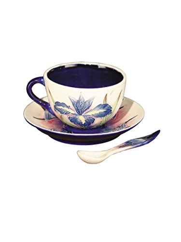 Springdale Iris Hand Painted Porcelain Cup and Saucer Set