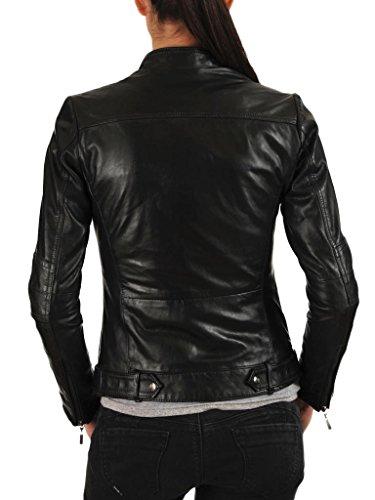 EXEMPLAR LL931 Chaqueta de piel para mujer, piel de cordero, Negro