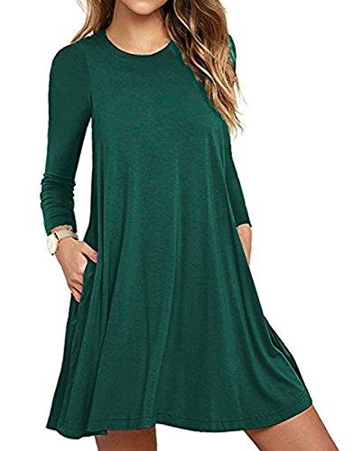 Yigoo Damen Langarm Basic Casual Loose T-Shirt Kleid Blusen Mini Kleider Tunika Herbst Winter Grün POB55nPFoz